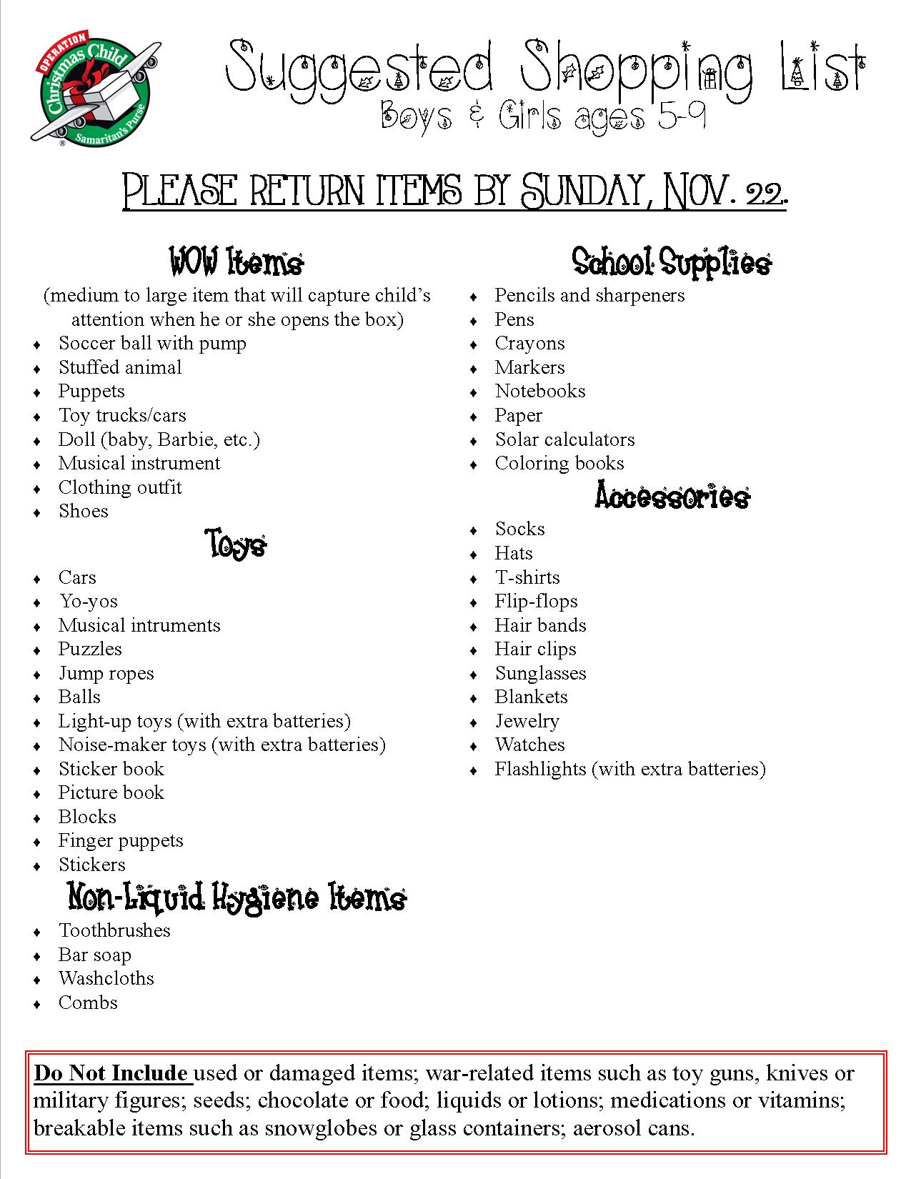 Operation Christmas Child Shopping List – Gonzales Church of Christ